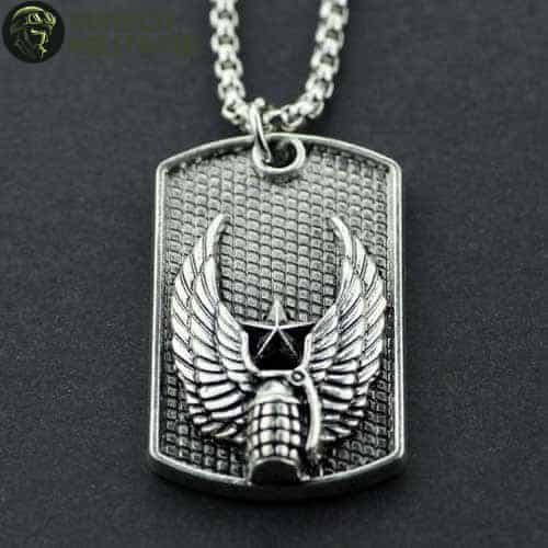 collier militaire plaque grenade ailee
