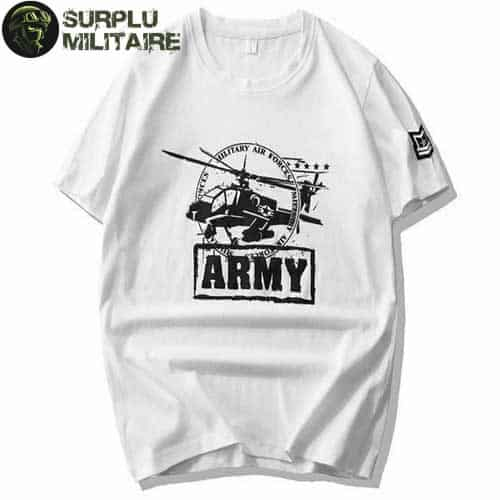 t shirt militaire homme helicoptere blanc 3xl